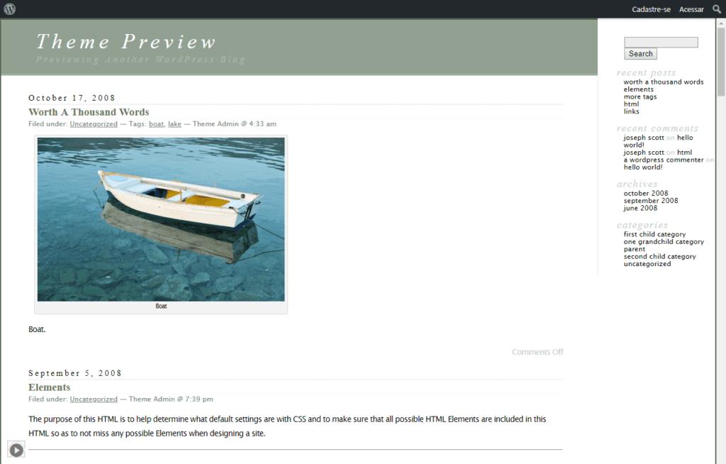 wordpress template classic